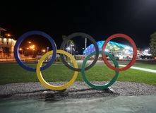 Olympic rings in sochi park stock photo