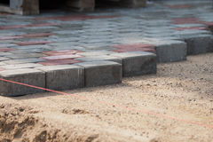 Installation of Pavers Royalty Free Stock Photo