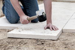 Installation of paving slabs Royalty Free Stock Images