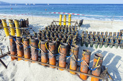 Installation of pipes for fireworks / pyrotechnics Royalty Free Stock Image