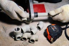 Installation of plastic pipes welder machine Stock Image