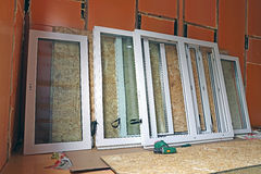 Installation of plastic windows Royalty Free Stock Images