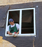 Installation of plastic windows Stock Photo