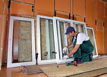 Installation of plastic windows Royalty Free Stock Photo