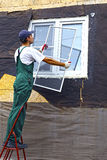 Installation of plastic windows Royalty Free Stock Image