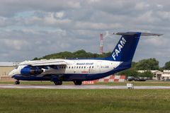 Installation pour les aéronefs expérimentaux atmosphériques britanniques atmosphériques aéroportés de l'espace BAe-146-301ARA des photo libre de droits