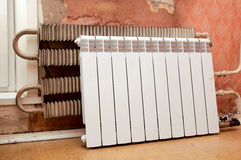 Installation of a radiator Stock Photography