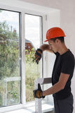 Installation and repair of plastic windows Royalty Free Stock Photo