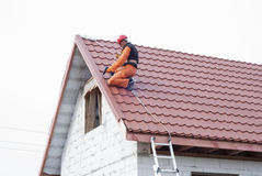 Installation of a roof Stock Image