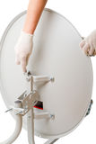 Installation of satellite dish Stock Photos