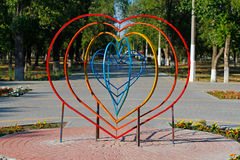 Installation in the shape of a heart Stock Photo
