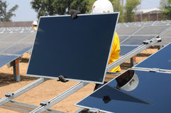 Installation of Solar Panels. At New Solar Farm in Central Valley, California Stock Image