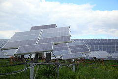 Installation of solar panels in rural areas. Stock Images