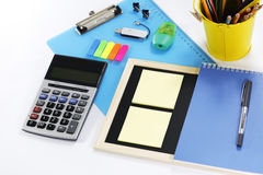 Installation of stationary set. Back to school, back to work Royalty Free Stock Photo