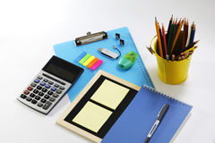Installation of stationary set. Back to school, back to work Stock Images