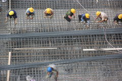 Installation steel skeleton of the workers at the SHENZHEN construction site Royalty Free Stock Photo