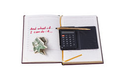 Installation of success. Notebook, calculator and pen - objects to help to achieve the ideas Royalty Free Stock Photo