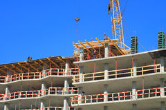 Installation of a timbering on the top floors Royalty Free Stock Photography