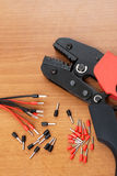 Installation Tool (crimp) terminals for the cable. Stock Photos