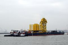 Installation towed to a drilling platform in the Northsea stock photo