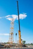 Installation of tower crane. Royalty Free Stock Photography