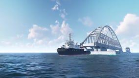 Installation von Bögen der Krimbrücke Montage der Krimbrücke, Animationsvideo Ungefährer Entwurf für stock video