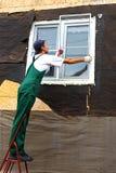Installation von Plastikfenstern Lizenzfreies Stockbild