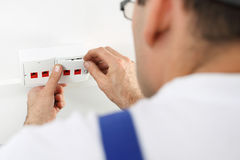 Installation of the wall socket Royalty Free Stock Image