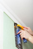 Installation of Wallpaper Stock Image