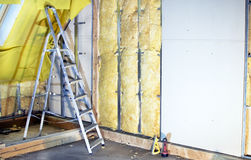 Installation  walls  with plasterboard and mineral wool Stock Image