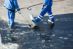 Installation of waterproofing stock photography