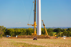 Installation of a wind turbine in wind farm construction site. View of Installation of a wind turbine in wind farm construction site Stock Photo