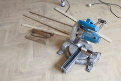 Installation of wood parquet Royalty Free Stock Photo