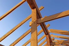 Installation of wooden beams at construction Royalty Free Stock Photos