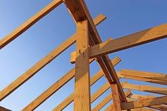 Installation of wooden beams at construction royalty free stock photos