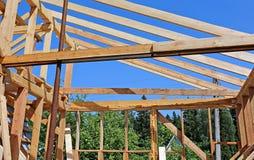 Installation of wooden beams at construction Royalty Free Stock Image