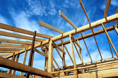 Installation of wooden beams Stock Photos