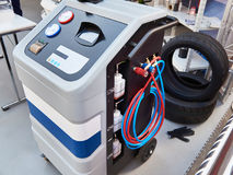 Installation for working with refrigerant in car workshop Stock Photos