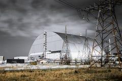 Installations productives de la centrale nucléaire de Chernobyl, Ukraine Quatrièmes unité d'alimentation de secours et zone d' photographie stock libre de droits