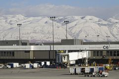 Installations of Salt Lake City Airport. SALT LAKE CITY, UTAH, January 27, 2017 : Salt Lake City Airport. Salt Lake has developed a strong outdoor recreation Stock Photography