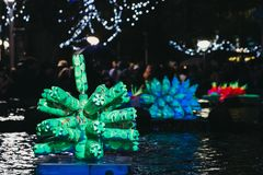 Installations at Winter Lights festival in Canary Wharf, London, UK. London, UK - January 26, 2019: Installations at Winter Lights, yearly lights and stock image