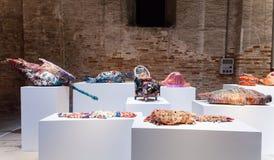 Installationssikt av arbetet av Judith Scott på den 57th Venedig Arkivbild