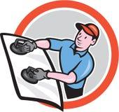 Installatore di vetro automobilistico Front Circle Cartoon royalty illustrazione gratis