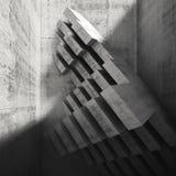 Installazione concreta moderna nella stanza vuota, 3d Fotografie Stock Libere da Diritti