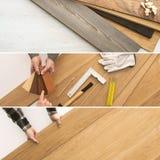 Installazione della pavimentazione a casa Fotografia Stock