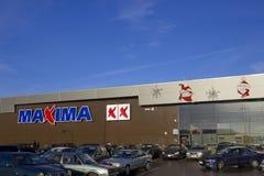Installazione di Natale ai massimi della catena di negozi del supermercato Fotografia Stock Libera da Diritti