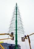 Installazione di un albero di Natale Immagini Stock Libere da Diritti