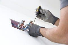 Installazione elettrica nella scatola Fotografia Stock