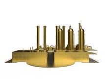 Installazione produttiva chimica dorata Immagini Stock Libere da Diritti