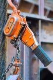 Installed chain hoist Stock Photos